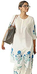 Janasya Women's White Embroidered Cotton Semi-Stitched Salwar Suit