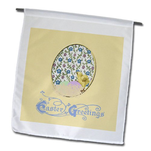 Fl_174111_1 Beverly Turner Easter Design And Photography - Little Yellow Chick, Nest Of Eggs, Flowered Background, Yellow, Blue, Green - Flags - 12 X 18 Inch Garden Flag front-280251