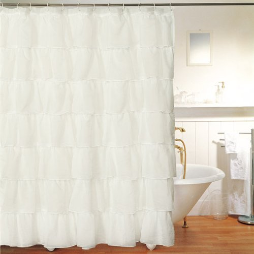 gypsy ruffled shower curtain cream 70 width