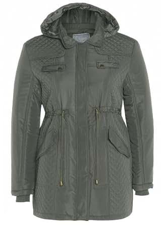 New Womens Plus Size Padded Hooded Parka Jackets Warm Winter Coats (18, Khaki)