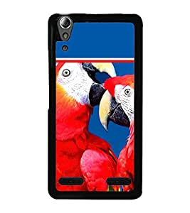 Pair of Red Parrots 2D Hard Polycarbonate Designer Back Case Cover for Lenovo A6000 Plus :: Lenovo A6000+ :: Lenovo A6000