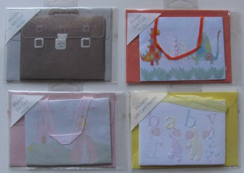 Greeting Card - 4 Gift Card Holders: Baby in Pajamas, Calling All Princess, Dinosaurs, Brown Satchel
