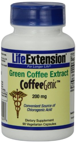 Life Extension Coffeegenic Green Coffee Extract Vegetarian Capsules, 200 Mg, 90 Count