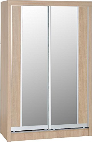 Seconique Lisbon 2-Door Sliding Wardrobe, Wood, Light Oak Effect Veneer