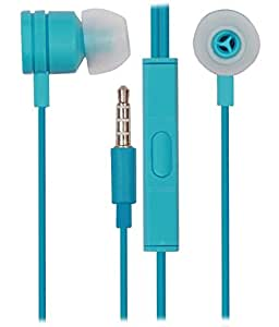 Jkobi 3.5mm In Ear Bud Handsfree Headset Earphones With Mic Compatible For Motorola Moto G4 -Cyan