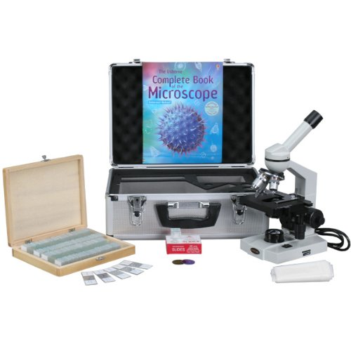 Amscope M600C-Ac-Cm-Ps100E-50P100S Compound Monocular Microscope, Wf10X And Wf25X Eyepieces, 40X-2500X Magnification, Brightfield, Tungsten Illumination, Abbe Condenser, Mechanical Stage, 110V, Includes Set Of 100 Prepared Slides, 50 Blank Slides, 100 Cov