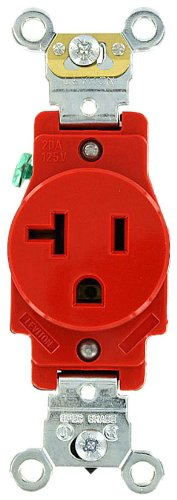 Leviton 5361-R 20 Amp, 125 Volt, Industrial Heavy Duty Grade, Single Receptacle, Straight Blade, Self Grounding, Red (Electric Dirt Tamper compare prices)