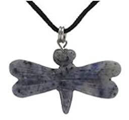 17.50 Cts. Hand Carved Sodalite Gemstone Dragonfly Pendant