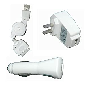 3 in 1 iPod Charger Kit, Home/Travel Charger, Car Charger, Retractable USB kit.