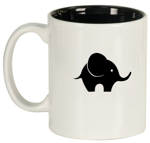 White Ceramic Coffee Tea Mug Baby Elephant