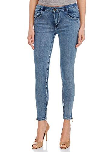 oodji Ultra Donna Jeans Slim Fit con Zip Alla Caviglia, Blu, 27W x 30L