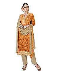 Shenoa Women's Cotton Silk Unstitched Salwar Suit Dress Material (Orange, Free Size)