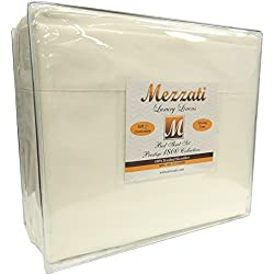 Mezzati Luxury Waterbed Sheets Set - #1 On Amazon! - Best, Softest, Coziest Sheets Ever! - Sale - High Quality 1800 Prestige Collection Brushed Microfiber - Money Back Guarantee!! (King, Ivory)