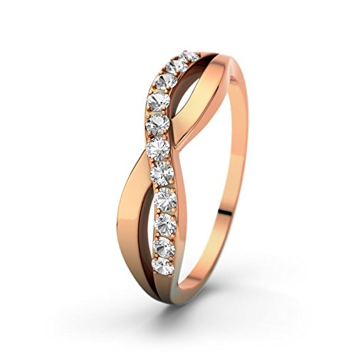 21DIAMONDS Women's Ring Brilliant Cut Brookelyn White Topaz Engagement Ring in 18 K Rose Gold Engagement Rings