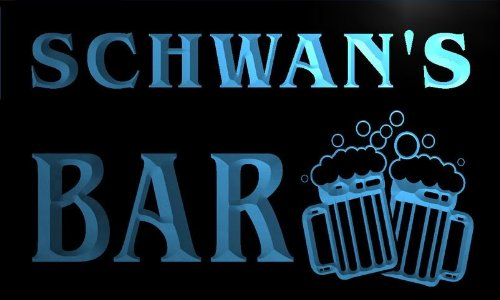 w014367-b-schwans-name-home-bar-pub-beer-mugs-cheers-neon-light-sign