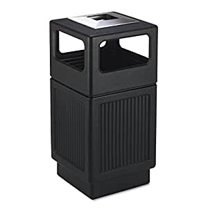 Safco Products 9477BL Canmeleon Recessed Panel Waste Receptacle, Ash Urn, Side Open, 38 Gallon, Black