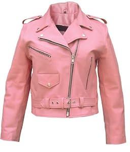 Ladies Pink Basic full cut Motorcycle Leather Jacket