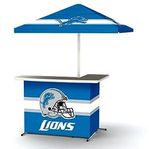 NFL Detroit Lions Portable Wheeled Bag Travel L-Shape Umbrella Basic Bar Blue by Best of Times
