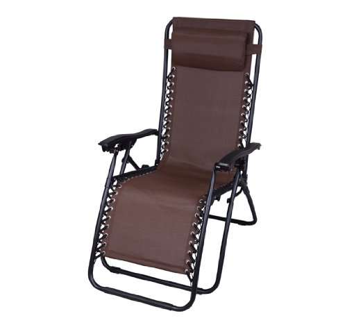 Outsunny Zero Gravity Recliner Lounge Patio Pool Chair - Brown
