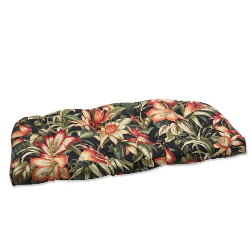 Pillow Perfect Outdoor Botanical Glow Ebony Wicker Loveseat Cushion picture