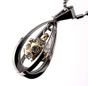 R.H. Jewelry Stainless Steel Pendant, Teardrop Gold Ball Cz Stone 3D Necklace