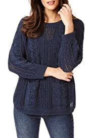 Indigo Collection Pure Cotton Cable Knit Jumper [T66-2556-S]