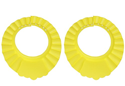 Yansanido 2pcs Soft Adjustable Baby safe Shampoo Shower Bathing Protection soft Cap Hat for Toddler's Baby Children Kids to keep the water out of their eyes & Face (2pcs yellow)