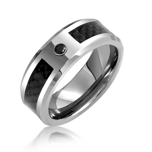 Bling Jewelry Mens Nero CZ tungsteno Wedding Band Ring Carbon Fiber Inlay 8 millimetri
