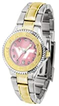 Virginia Tech Hokies Competitor Ladies Watch with Mother of Pearl Dial and Two-Tone Band