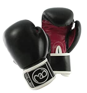 Boxing-Mad Women's Fit Leather Pro 8 Oz Sparring Gloves - Black/Red