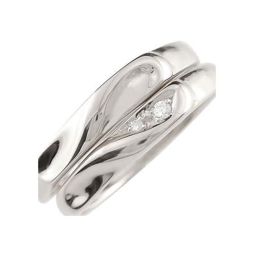 [アトラス] Atrus 結婚指輪 ペアリング カップル ハート デザイン 2本セット ダイヤモンド 指輪 プラチナ900 プラチナリング ふたつを重ねればハートが浮かび上がる絆リング