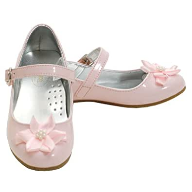 Amazon.com: Angel Pink Patent Flower Accent Dress Shoes ...