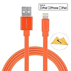 [Apple MFi Certified 3.3ft 1M] YellowknifeÃ'® Colorful Attractive Durable Flat USB to Lightning Cable for Apple iPhone 6 / 6S / 6 Plus / 5 / 5C / 5S, iPad Mini 2 / 3, iPad 4 / Air / Air 2, iPod Touch 5th Gen / Nano 7th Gen Noo