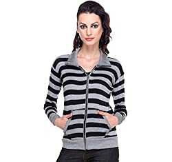 TeeMoods Womens Front Open, Zippered Full Sleeves Top