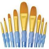 Royal and Langnickel Crafter's Choice Filbert and Wash Taklon Variety Brush Set - Gold (Pack of 9)