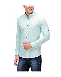 Nexq Men's Slim Fit Linen Casual Shirt (N51143_Blue_Small)