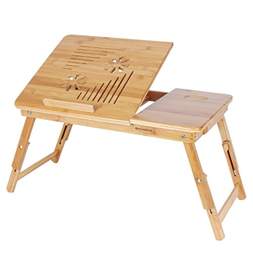 SONGMICS Portable Adjustable Bamboo Laptop Desk with Tilting Top Drawer, ULLD002