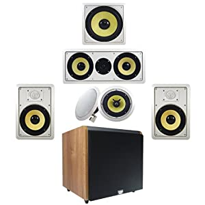 "5.1 HD 6.5"" In-Wall Speaker System (HD-516) w/12"" Powered HD Sub HDSUB12M Acoustic Audio"
