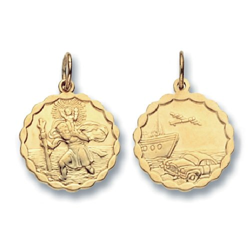 9ct Gold Round Double Sided St Christopher With Wavy Edge Pendant On A 18 Inch Belcher Necklace