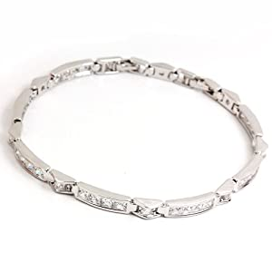 White Gold GP Channel Tennis Classic Cubic Zirconia Bracelet