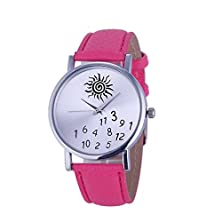 buy Women Watch Whatever I Am Late Anyway Letter Faux Leather Quartz Wrist Watches (Hot Pink)