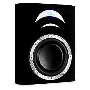 auna caisson de basses auto subwoofer plat voiture 25cm 10 bobine 5cm led noir amazon. Black Bedroom Furniture Sets. Home Design Ideas