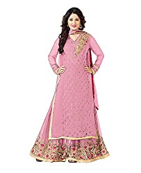 Spangel Fashion Women's Embroidered Georgette Plazzo Suit (Peach_Free Size)