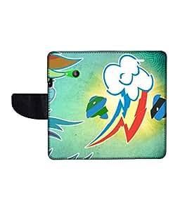 KolorEdge Printed Flip Cover For Motorola Moto E Multicolor - (43KeMlogo09000MotoE)