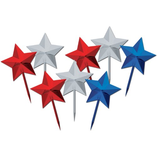 Star Picks (asstd red, silver, blue) Party Accessory  (1 count) (8/Pkg)