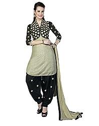 Lookslady Embroidered Beige Santoon Salwar Suit