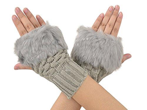 Simplicity Lovely Women Girl Warm Winter Faux Fur Fingerless Knitting Gloves