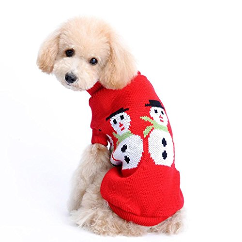 Outtop Dogs Cold Weather Knitted Turtle Neck 3D Patterns Christmas Sweater for Small Big Dogs (S_Chest: 11.0