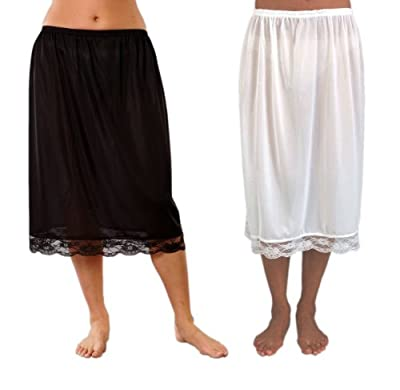 2er-Pack Frauen/Damen Unterröcke, 100% Polyester, mit Spitze, verschiedene Farben & Größen