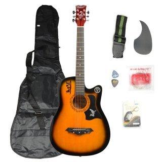 Moppi DK – 38C Basswood Gitarre Braun mit Tasche Riemen nimmt LCD Tuner Pickguard String günstig kaufen